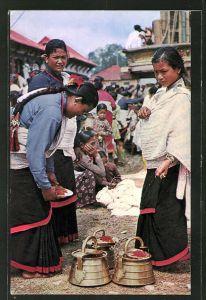 AK Kathmandu, typical women preparing for worship