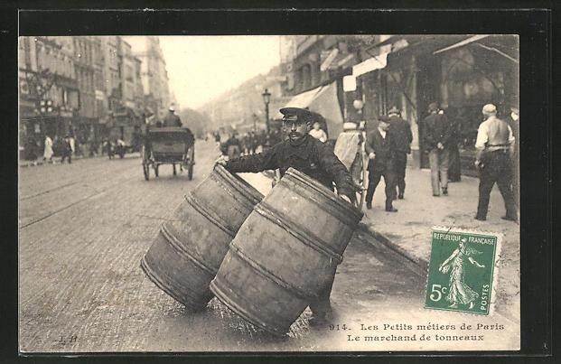 AK Paris, Händler mit Fässern auf der Strasse,