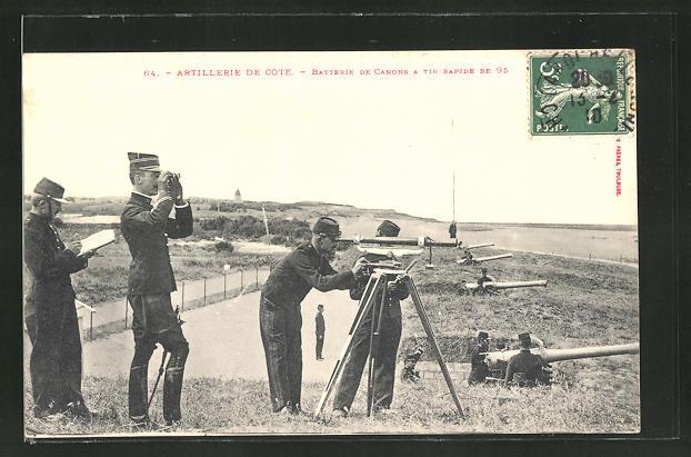 AK Artillerie De Cote, Batterie De Canons A Tir Rapide de 95, Beobachter mit Feldstecher und Fernrohr