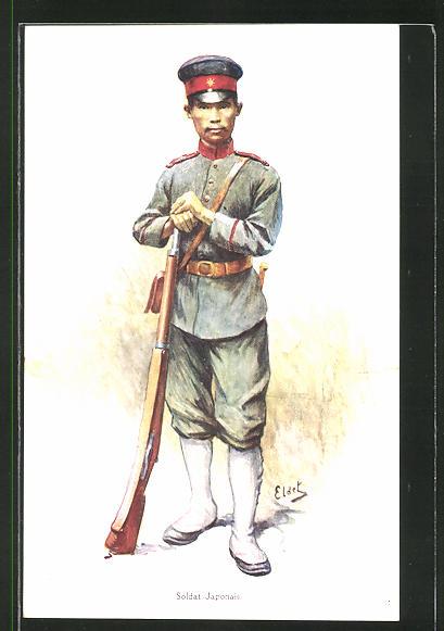 Künstler-AK Eldet: Soldat Japonais, japanischer Soldat