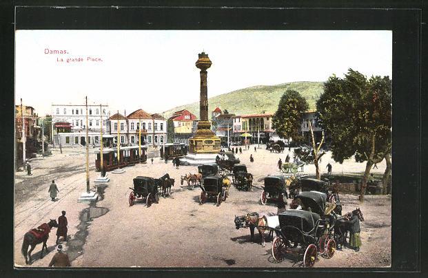AK Damas, La grande Place, Strassenbahnen und Kutschen