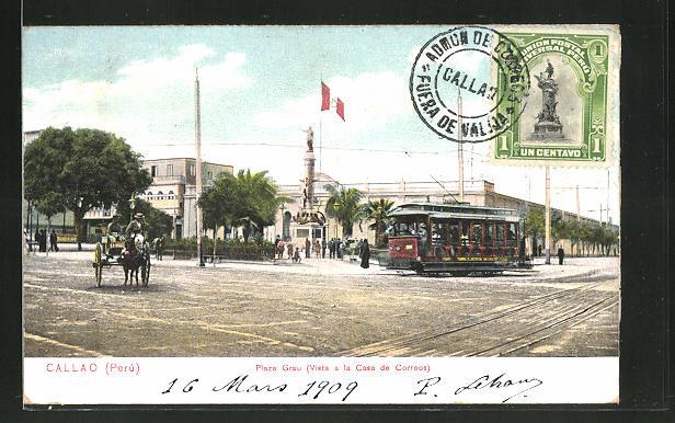 AK Callao, Plaza Grau, Strassenbahn beim Postamt