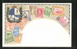 Präge-AK Uruguay, Briefmarken und Wappen des Landes