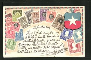 Präge-AK Chile, Briefmarken und Wappen des Landes