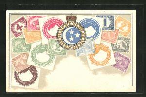 Präge-AK Ägypten, Briefmarken und Wappen des Landes