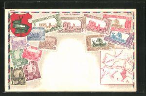 Präge-AK Tunesien, Briefmarken und Wappen des Landes