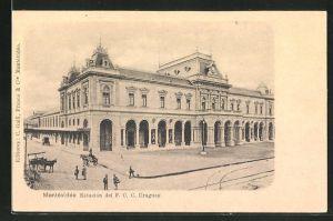 AK Montevideo, Estacion del F. C. Uruguay, Bahnhof