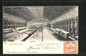 AK Montevideo, Interior de la Estacion F.C.C.U., Bahnhof, Innenansicht