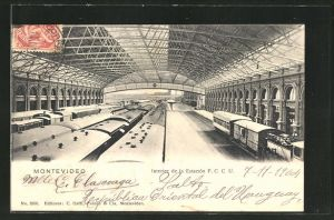 AK Montevideo, Interior de la Estacion F.C.C.U., Innenansicht vom Bahnhof