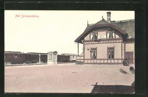 AK Hell, Jernbanestation, Bahnhof mit haltendem Zug