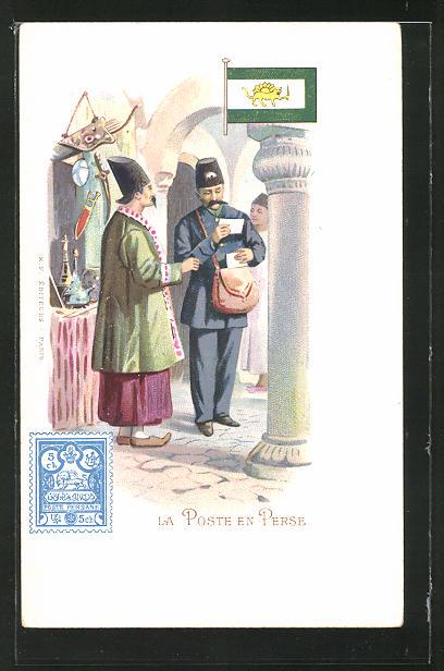 Lithographie La Poste en Perse, iranischer Briefträger übergibt Post