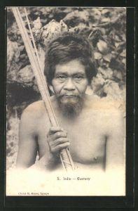 AK Guarany, Indio, Indianer mit Waffe