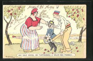 AK Ah! Sale voyou! On t'Appendra..., Niederländisches Paar kneift Kaiser Wilhelm II. in die Wangen, Propaganda Entente