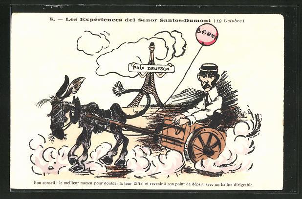 AK Les Expériences de Senor Santos-Dumont, Santos-Dumont fährt in einer Eselskutsche, Karikatur