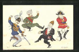 AK Kaiser Nikolaus II. von Russland tanzt mit König Vittorio Emanuele II. von Italien