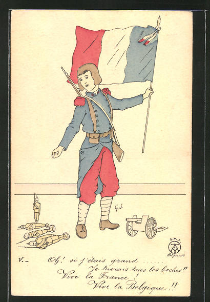 Künstler-AK Knabe in französischer Uniform mit Spielzeugsoldaten