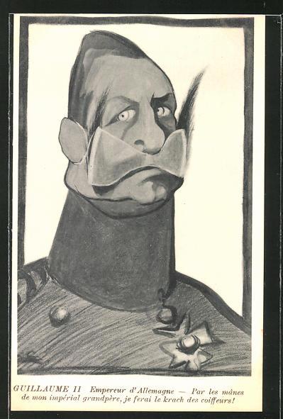 Künstler-AK Karikatur von Kaiser Wilhelm II. mit Bartbinde