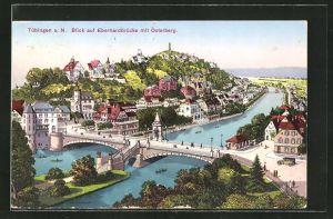 AK Tübingen a. N., Blick auf Eberhardbrücke mit Österberg