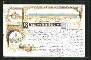 Lithographie Nürnberg, Bayer. Landesausstellung 1896, Kulmbacher Bierhalle, Nürnberger Bierhalle, Münchner Bierhalle