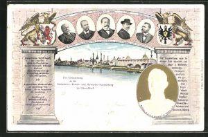AK Düsseldorf, Industrie-, Kunst- und Gewerbe-Ausstellung 1902, Ausstellungsgelände vom Rhein aus, Wappen