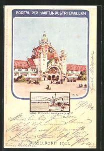 Künstler-AK Düsseldorf, Industrie-, Gewerbe- und Kunst-Ausstellung 1902, Hauptindustriehallen