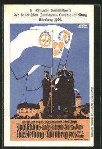 AK Nürnberg, bayerischen Jubiläums-Ausstellung 1906, drei Männer schwenken Fahnen