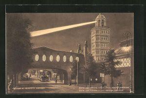 AK Dresden, Internationale Hygiene-Ausstellung 1911, Überbrückung der Lennéstrasse mit Aussichtsturm