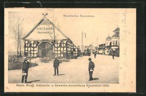 AK Düsseldorf, Rhein. Westf. Industrie- & Gewerbe-Ausstellung 1902, Westfälisches Bauernhaus