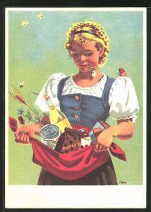 AK Basel, Rollende Schau 1950, junge Frau mit Essen in der Schürze