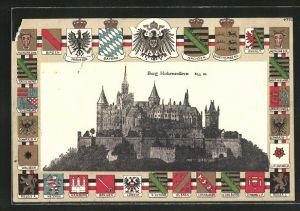 Passepartout-Lithographie Hohenzollern, Burg Hohenzollern mit Wappen