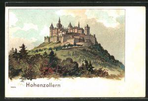Lithographie Hohenzollern, Blick zur Burg Hohenzollern