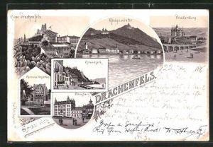 Lithographie Königswinter, Gasthaus auf dem Drachenfels, Blick auf Königswinter, Rolandseck und Petersberg