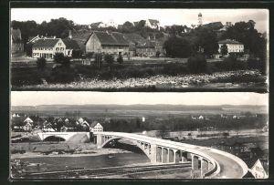AK Kellmünz, Ortspartie mit Kirche, Brücke aus der Vogelschau