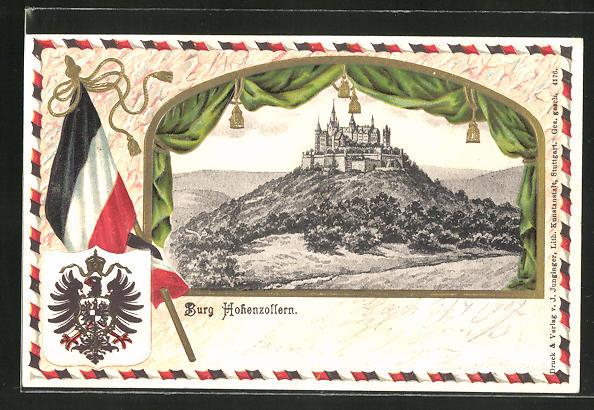 Präge-Passepartout-Lithographie Burg Hohenzollern mit Fahne und Wappen