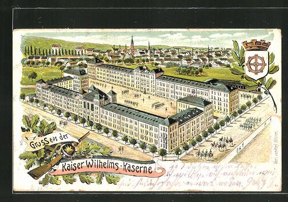 Lithographie Mülhausen, Ansicht der Kaiser Wilhelms-Kaserne
