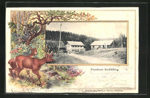 Passepartout-Lithographie Auerbach, Restaurant Forsthaus Sackdilling, Rotwild am Waldbach