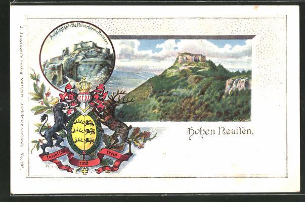 Passepartout-Lithographie Nürtingen, Aussichtsplatte, Pulverturm & Brunnen, Blick zur Hohen Neuffen mit Wappen