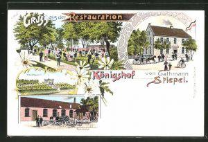 Lithographie Bochum, Restaurant Königshof von Gathmann Stiepel, Hochbassin, Fabrik Landwirtschaftlicher Maschinen