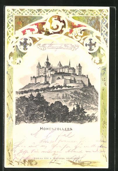 Passepartout-Lithographie Burg Hohenzollern im Panorama