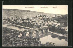 AK Bingen, Totalansicht mit Nationaldenkmal & Drususbrücke