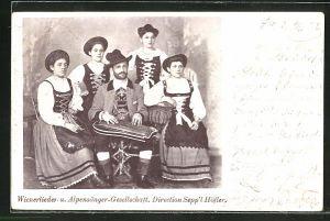 AK Wienerlieder-u. Alpensänger-Gesellschaft, Direction Sepp'l Höfler, Trachtenkapelle