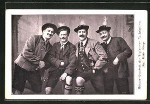 Foto-AK Männer-Quartett der Tegernseer Nachtigallen, Dir. Hans Starp