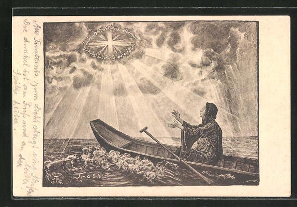 Künstler-AK Hans Thoma: Kriegskarte 1914 gezeichnet zum Besten der Nationalstiftung
