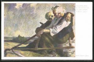 Künstler-AK Erich A. Lamm: Das letzte Feld, Le dernier Champ, The last labour, S'ultimo campo, Der Tod