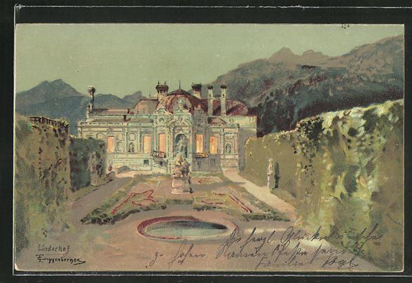 Künstler-AK Theodor Guggenberger: Blick auf den Linderhof mit Brunnen