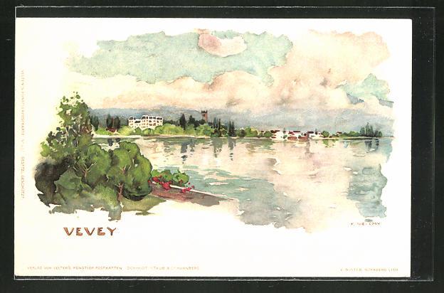Künstler-AK Fritz Voellmy: Vevey, Partie am See