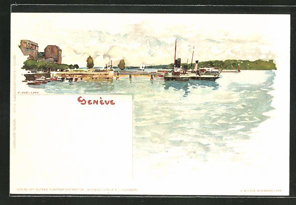 Künstler-AK Fritz Voellmy: Geneve, Flusspartie mit Booten