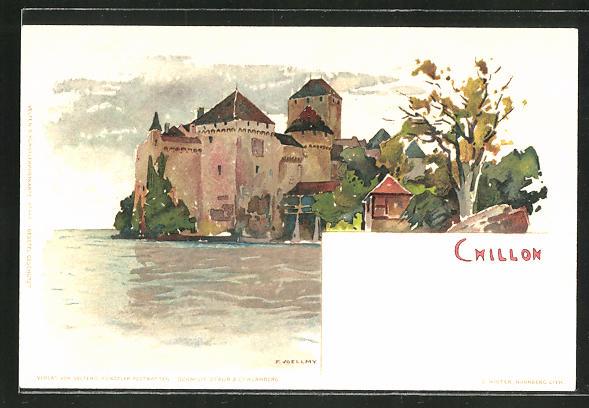 Künstler-AK Fritz Voellmy: Chillon, Blick auf die Burg