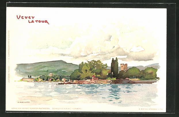 Künstler-AK Fritz Voellmy: Vevey La Tour, Flusspartie mit Blick auf den Ort