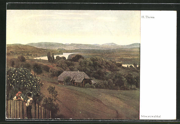 Künstler-AK Hans Thoma: Schwarzwaldtal, Bube und Mädel unterhalten sich am Zaun